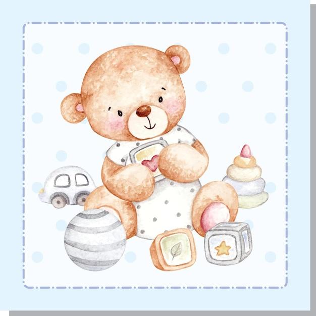 Акварель милый плюшевый мишка с игрушками