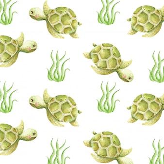 Watercolor cute turtle seamless pattern