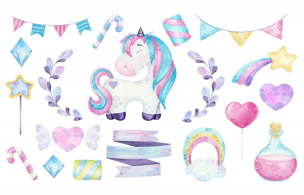 Watercolor cute unicorn clipart illustrations with magical elements