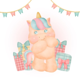 Watercolor cute unicorn party with gift boxes.