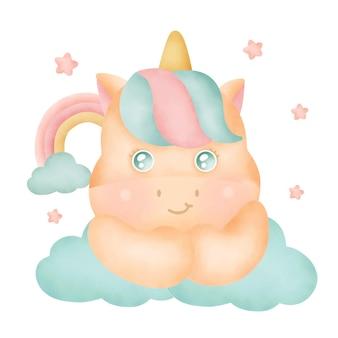 Watercolor cute unicorn and rainbow.