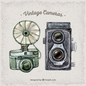 Watercolor cute vintage cameras