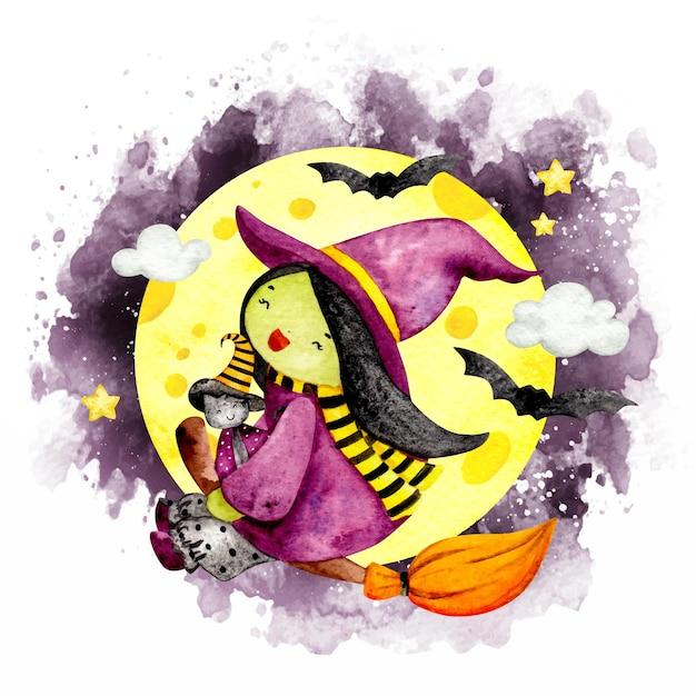 彼女のほうきで飛んでいる水彩画のかわいい魔女