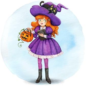 호박과 검은 고양이와 수채화 귀여운 마녀