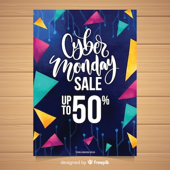 Watercolor cyber monday flyer template