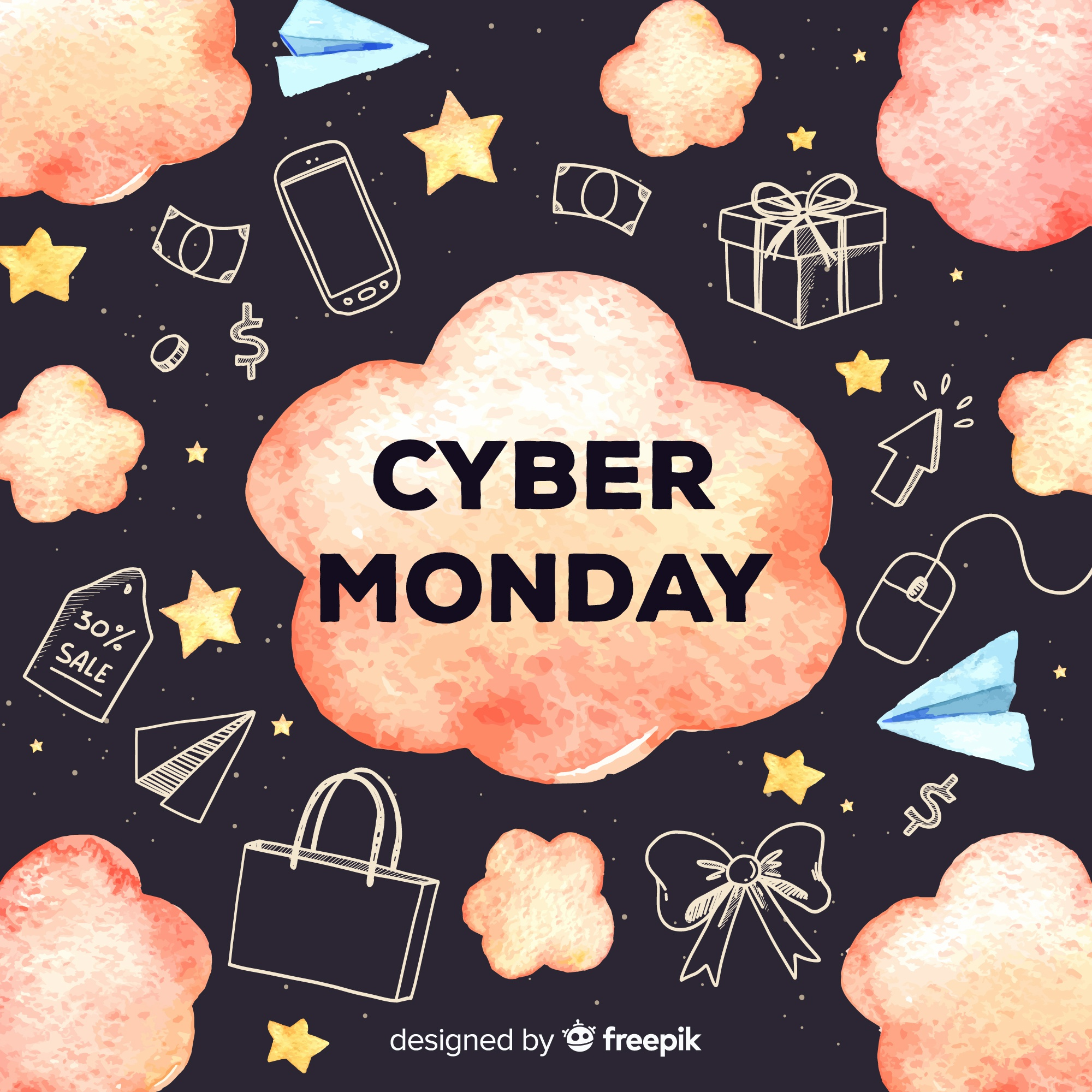 Watercolor cyber monday sales background