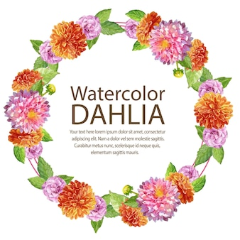 Watercolor dahlia card bush round text