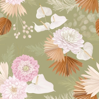 Watercolor dahlia flower, palm leaves, pampas grass, lunaria vector seamless background. lily dried flowers pattern. tropical boho design for wedding, textile print, wallpaper texture, backdrop