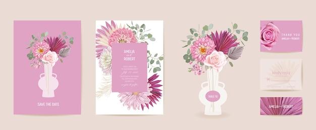 水彩ダリア、パンパスグラス、バラの花のウェディングカード。ベクトルエキゾチックな花、熱帯のヤシの葉の招待状。自由奔放に生きるテンプレートフレーム。ボタニカルセーブザデイトの葉のカバー、モダンなデザインのポスター