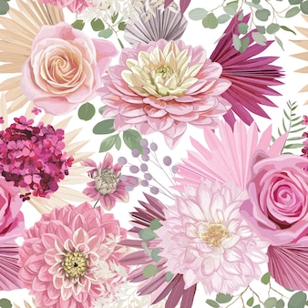 水彩ダリア、バラの花、ヤシの葉、パンパスグラスベクトルシームレスな背景。ハワイのドライフラワー柄。結婚式、テキスタイルプリント、壁紙のテクスチャ、背景の熱帯自由奔放に生きるデザイン