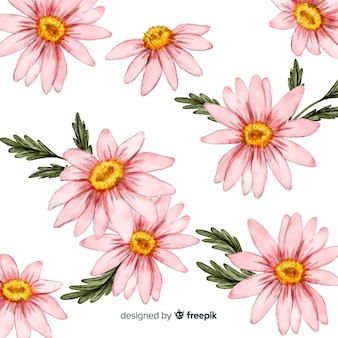 Watercolor daisy flowers and leaves background