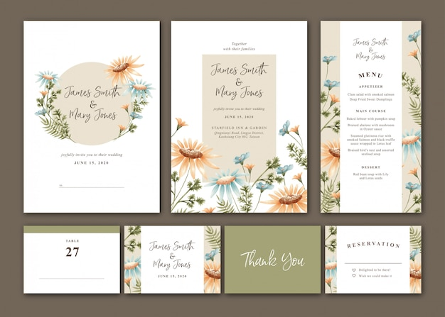 Watercolor daisy wedding invitation set