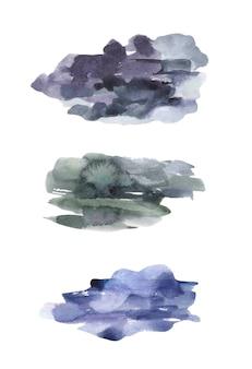 수채화 진한 파란색 질감 밝아진.