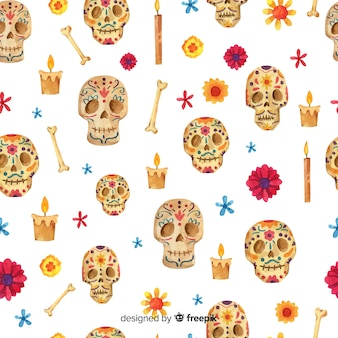 Watercolor day of the dead pattern