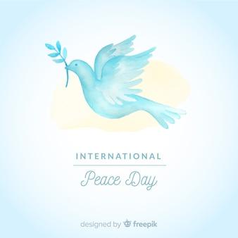 흰 비둘기와 평화 구성의 수채화 날