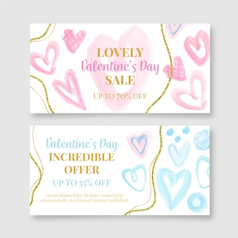 Watercolor day sale banners template