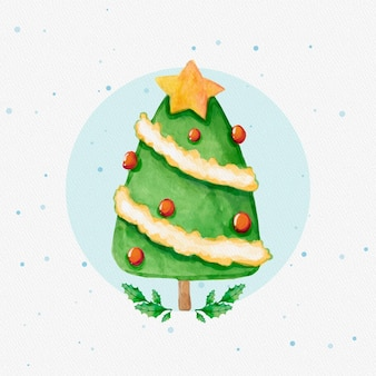 Watercolor decorated christmas tree