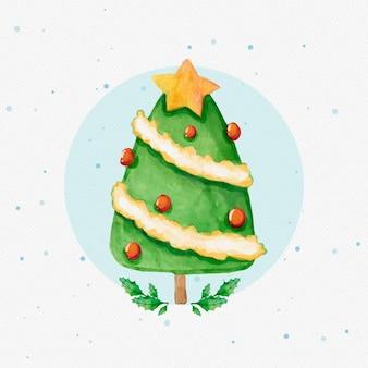 Акварель украшенная рождественская елка