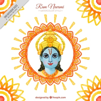 Watercolor decorative background of ram navami