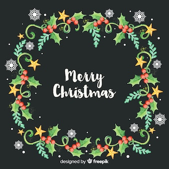 Watercolor decorative christmas frame