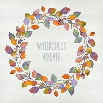 Watercolor decorative colorful wreath