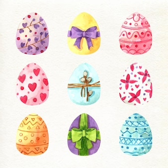 Watercolor decorative easter eggs collection