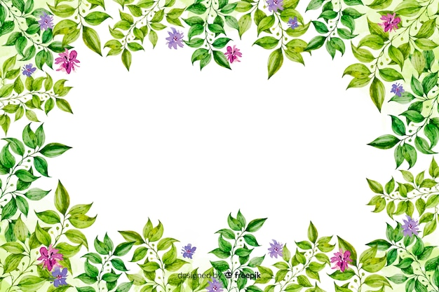 Watercolor decorative floral frame background