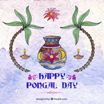 Watercolor decorative happy pongal day background
