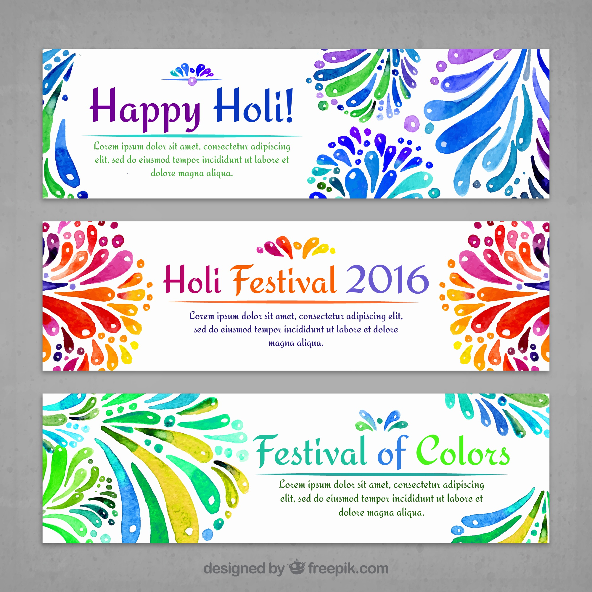 Watercolor decorative holi banners