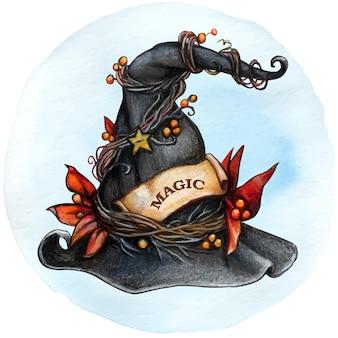 Акварельная декоративная шляпа ведьмы с украшением из осенних листьев