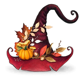 Watercolor decorative witch hat with fall leaves decoration