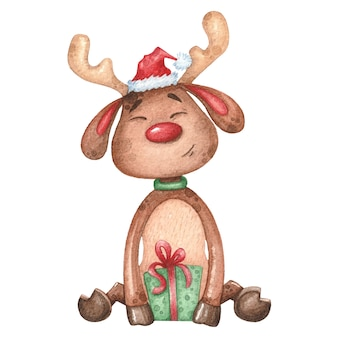 Watercolor deer with gift. christmas hand drawn illustration