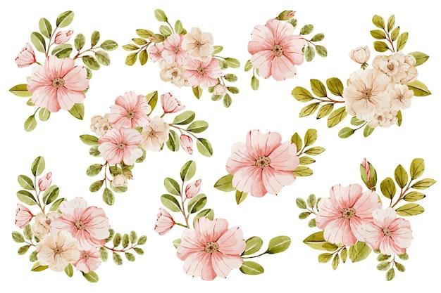 핑크 꽃과 수채화 섬세한 웨딩 부케 꽃다발
