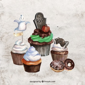 Watercolor delicious halloween cupcakes