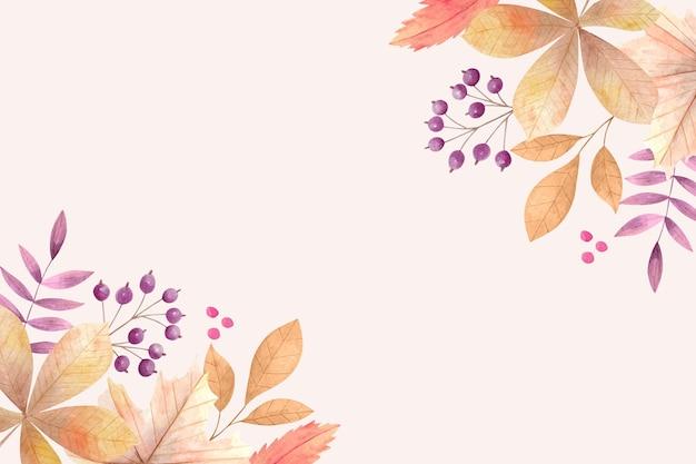 수채화 디자인 가을 배경