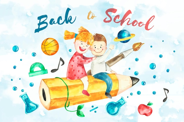 Watercolor design back to school background