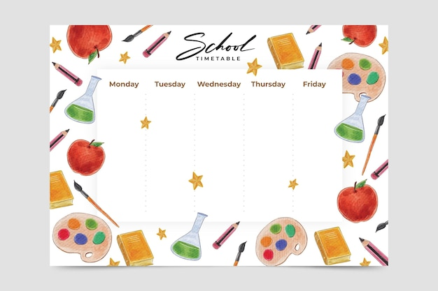 Watercolor design back to school timetable