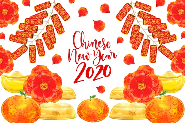 Watercolor design chinese new year with flowers