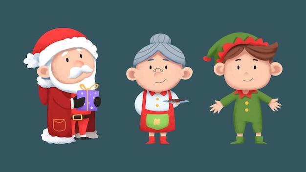水彩デザインかわいいクリスマスキャラクターコレクション