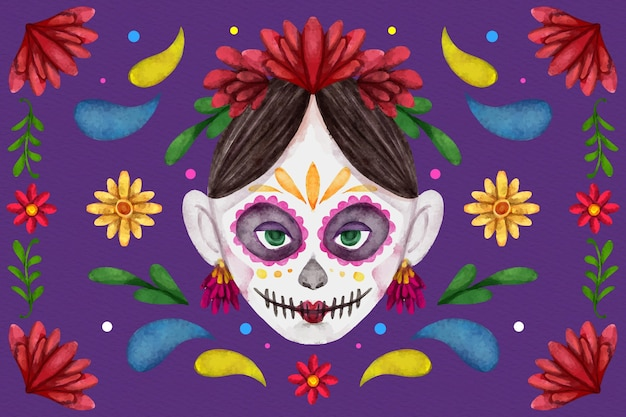 Watercolor design day of the dead background