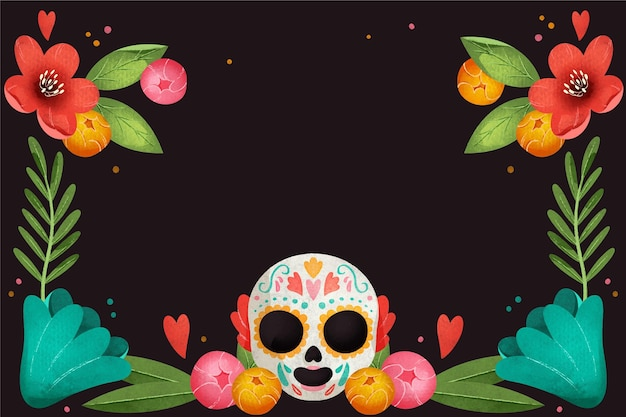 Watercolor design day of the dead with skull