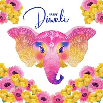 Watercolor design diwali colorful elephant