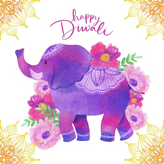 Watercolor design diwali with elephant