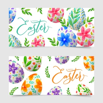 Watercolor design easter day banners with eggs