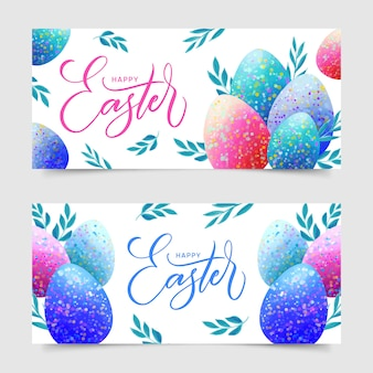 Watercolor design for easter day banners