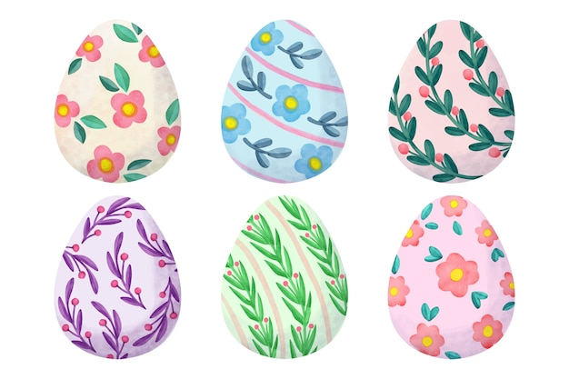Watercolor design easter day egg collection
