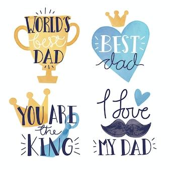 Distintivi di festa del papà di disegno dell'acquerello