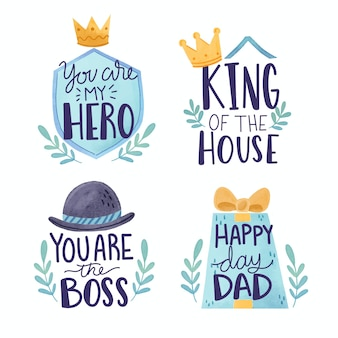 Watercolor design father's day labels