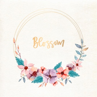 Watercolor design floral frame