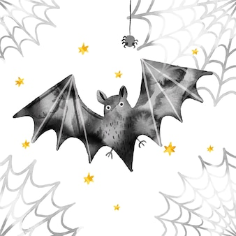 Watercolor design halloween bat